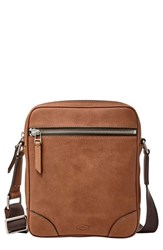 Men's Fossil 'Wright' Leather Crossbody Bag Metallic Cognac