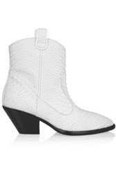 Giuseppe Zanotti Snake Effect Leather Ankle Boots White