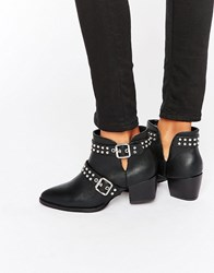 Truffle Collection Stud Strap Point Mid Heeled Ankle Boots Black Pu