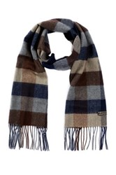 Amicale Merino Wool Plaid Scarf Black