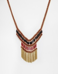 Warehouse Beaded Tassle Necklace Red