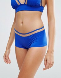 Asos Mix And Match Mesh Insert Boy Short Bikini Bottom Oxford Blue Nude