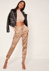 Missguided Rose Gold Pocket Detail Cuffed Satin Joggers