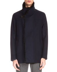 Berluti Fur Lined Wool Jacket Navy
