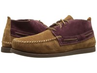 Sperry A O Wedge Chukka Suede Tan Burgundy Men's Lace Up Casual Shoes