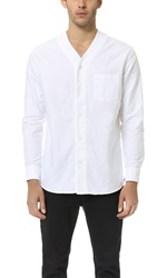 Steven Alan Long Sleeve Baseball Shirt White