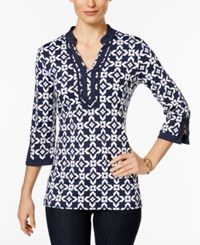 Charter Club Iconic Print Tunic Only At Macy's Intrepid Blue Combo