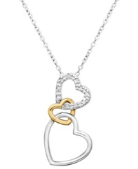 Macy's 18K Gold Over Sterling Silver And Sterling Silver Heart Necklace Diamond Accent Three Interlocking Heart Pendant