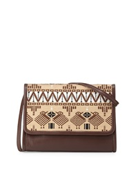 Isabella Fiore Earla Embroidered Crossbody Bag Espresso