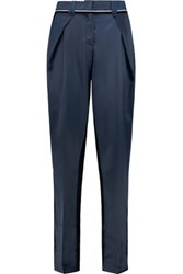 Self Portrait Two Tone Velvet And Cotton Sateen Tapered Pants Navy