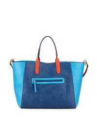 Neiman Marcus Reversible Faux Leather Tote Bag Navy Turquoise