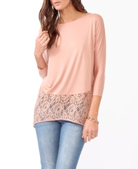 Forever 21 Knit And Lace Dolman Tunic Blush