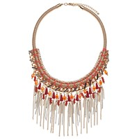 John Lewis Woven Tassel Coral Collar Necklace Coral Gold