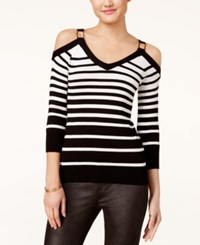 Xoxo Juniors' Striped Cold Shoulder Sweater Black Ivory