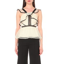 Self Portrait Organza Peplum Top Black White