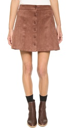 Wayf Button Front Skirt Brown Suede