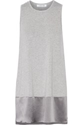 Elizabeth And James Larissa Silk Trimmed Stretch Jersey Tunic Gray