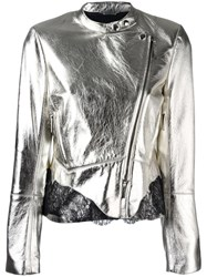 Roberto Cavalli Metallic Grey Biker Jacket