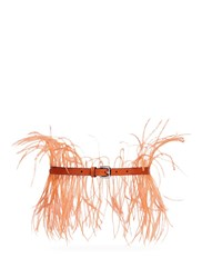 Emilio Pucci Feather Lizard Effect Leather Belt Orange