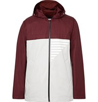 Under Armour Sportswear Portwear Coxwain Bonded Riptop And Cotton Blend Twill Hooded Jacket Burgundy