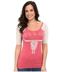 Rock And Roll Cowgirl 1 2 Sleeve Tee 48T7243 Hot Pink Women's T Shirt