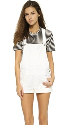 Anine Bing Denim Short Overalls Off White