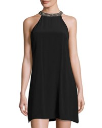 Mlv Embellished Trim A Line Silk Dress Black
