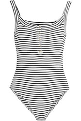 Topshop Unique Bisham Striped Stretch Cotton Bodysuit Black White