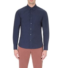 Orlebar Brown Oliver Tailored Fit Cotton Shirt Navy Oxford
