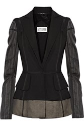 Maison Martin Margiela Silk Chiffon Paneled Wool And Mohair Blend Blazer