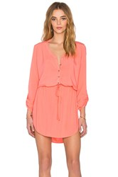 Michael Stars Mini Shirt Dress Coral