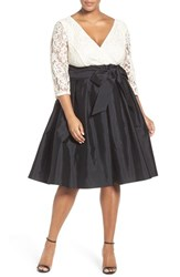 Adrianna Papell Plus Size Women's 'Guinevere' Lace And Taffeta Dress Black Ivory