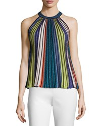 M Missoni Sleeveless Vertical Striped Top Black Metallic