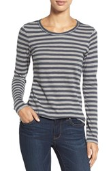 Caslonr Petite Women's Caslon Long Sleeve Slub Knit Tee Grey Grey Stripe