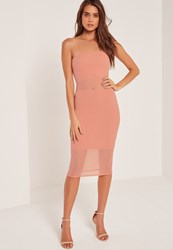 Missguided Bandeau Mesh Panel Midi Dress Pink Clay