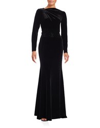 Teri Jon Long Sleeve Velvet Gown Black