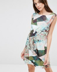 Lavand Soft Geo Print Shift Dress Green Multi