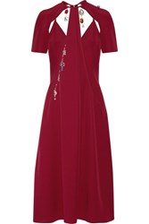 Christopher Kane Cutout Embellished Crepe Midi Dress Burgundy