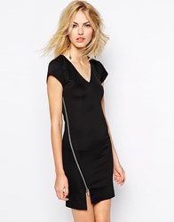 Supertrash Damis Bodycon Dress With Zip Black