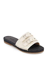 Rag And Bone Geneva Leather Espadrille Slide Sandals Off White
