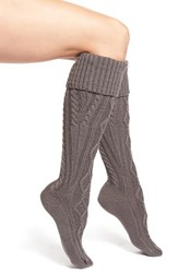Women's Free People Cable Knit Knee High Socks Black Charcoal