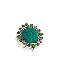 Stephen Dweck Carved Malachite Flower And Mixed Gemstone Ring