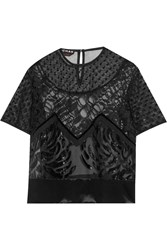 Rochas Embellished Lace And Flocked Silk Organza Top Black