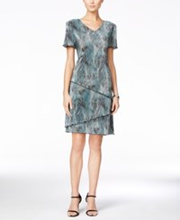 Connected Printed V Neck Tiered Dress Black Teal