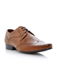 Howick Adams Lace Up Almond Toe Wingtip Brogues Tan