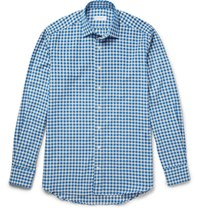 Etro Gingham Cotton Flannel Shirt Blue