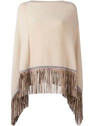 Antonia Zander Fringed Poncho Nude And Neutrals