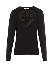 Christopher Kane Love Heart Embroidered Wool Blend Sweater