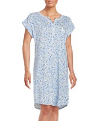 Miss Elaine Patterned Nightgown Blue