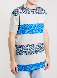 Topman Cut And Sew Stripe Skater T Shirt Multi